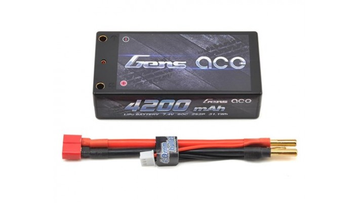 Gens Ace 2s Shorty Batterie LiPo 60C avec balle 4mm (7.4V / 4200mAh)