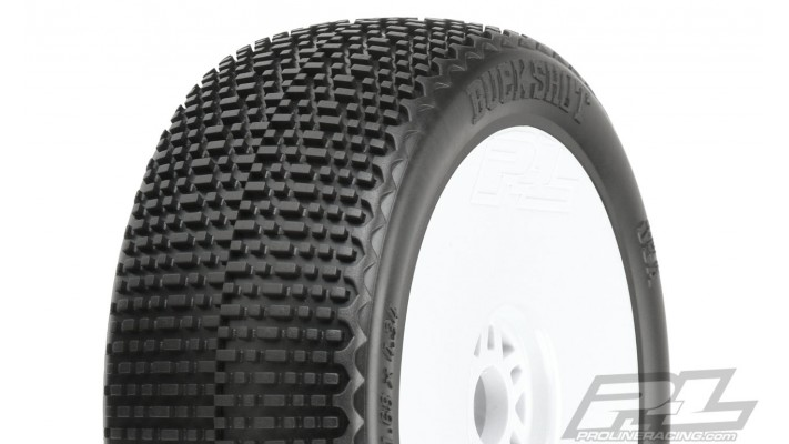 Pro-Line Buck Shot Pre-Mounted 1/8 Buggy Tires (White)