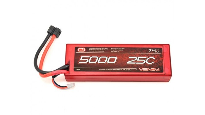 Ensemble de batterie Venom 2S LiPo 25C Hardcase avec connecteur universel (7.4V / 5000mAh)